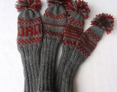 Set of Four Hand Knit Golf Club Head Covers With Pom Poms Charcoal Grey With Red Trim Monogram DAD Fits Driver, Woods, Hybrids
