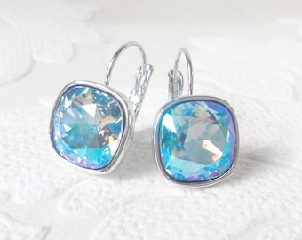 Light Blue Shimmer Crystal Drop Earrings made with Cushion Cut Swarovski Crystal Something Blue Gift for Bride Prom Jewelry