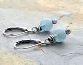 March Birthstone Earrings - Aquamarine Earrings - Lightweight Earrings - Sterling Silver - Light Blue Gemstone Earrings - Lever Back #4894