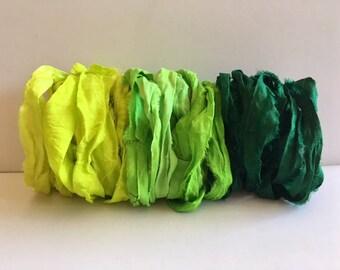 Silk Sari Ribbon-Lemon, Lime, Green Ribbon-9 Yards