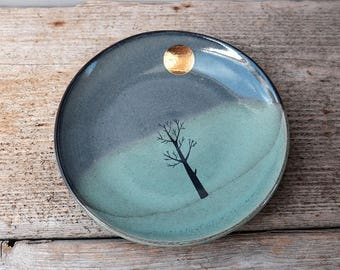 Gold Moon & Winter Tree Side Plate