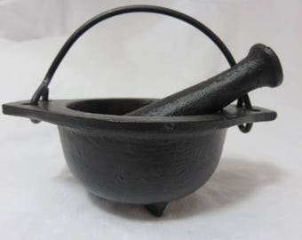 "Mortar and Pestle Cast iron Cauldron 3"" Deep With Cast Iron Pestle Herb Grinder"
