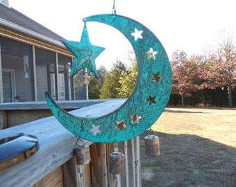 Celestial Rustic Metal Wind Chime Man in the Moon Windchime With Star Garden Decoration