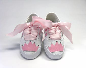 Princess Shoes, Pink Crown or Tiara With Crystals Hand Painted on White Sneakers for Baby or Toddler, Princess Theme Party Outfit