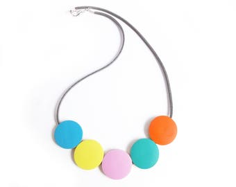 Rainbow Necklace, Wooden Necklace, Statement Necklace, Rainbow Gifts, SS18, Gift For Her, Mothers Day, Contemporary Necklace, Colour Pop