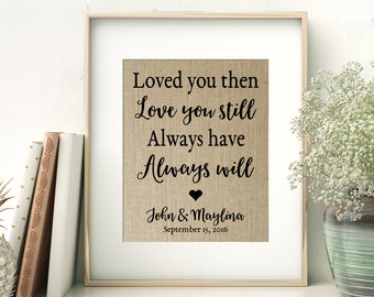 Loved You Then - Love You Still - Always Have - Always Will | Wedding Anniversary Gift for Husband Wife | Personalized Burlap Print