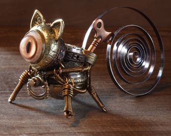 Little Steampunk cat robot sculpture