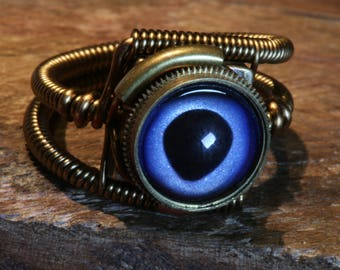 Steampunk ring, Marlin eyeball ring, Taxidermy glass eye, Antique bronze, hand-painted glass eye, Marlin fish eye, Steampunk Jewelry,dnd