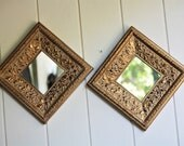 Vintage Framed Mirror Pair Embossed Wood Gesso Ornate Floral Motif Gold Gilt Shabby Chic French Country Hollywood Regency