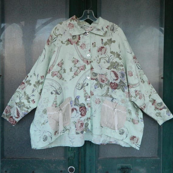 Angel Pie Romantic Oversized Floral Jacket with Pockets -M/L- Mint Green Linen