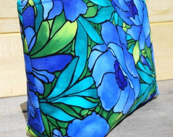 Zipper Pouch Cosmetic Bag - Blue Floral