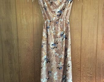Vintage 70s brown & blue floral sleeveless maxi dress with a cowl neck size M