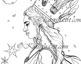 Instant download coloring page Winter Fairy Queen Fantasy Art Coloring Page