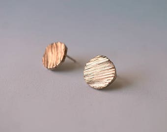 CIRCLE TEXTURED stud earrings - sterling silver or bronze