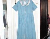 Vintage 90s Blue Cotton Ladies Dress L Button Up Short Sleeve Jumper Basic WT