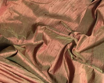Golden Burnt Sienna Silk DUPIONI Fabric - 1 Yard