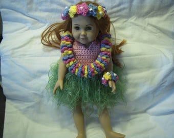 Crocheted Hula Costume for 18 inch Dolls