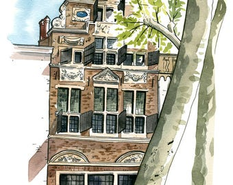Deventer: Archival 11x17 art print of painting of old classic Dutch building, The Netherlands