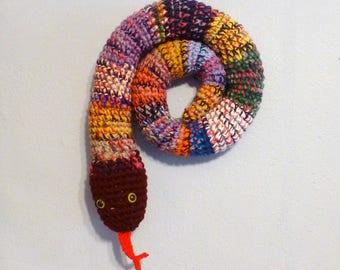 Draft Stopper Snake, Door Snake Mixed Colors, Crochet Draft Dodger, Door Draft Snake, Window Sitter, Stuffed Snake, 40 inches