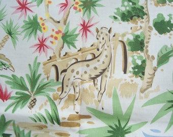 Vintage Cotton Fabric P Kaufman Asian Indian Scenes Print 2 pieces