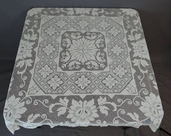 Vintage Lace Tablecloth, 44x44 small square cotton, Ivory Filet Floral