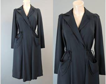 Vintage Black Wrap Dress, fits 38 inch bust, Adjustable waist 1960s