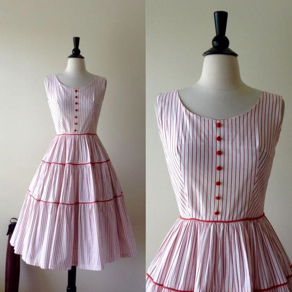 Vintage 1950s Dress - 50s Red Striped Dress
