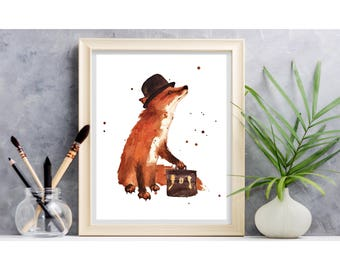 Watercolor FOX print, ready to frame, 8x10 print, art for kids