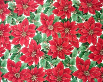 Christmas Fabric Destash – Holly Poinsettia - Almost 2 Yards, 100% Cotton