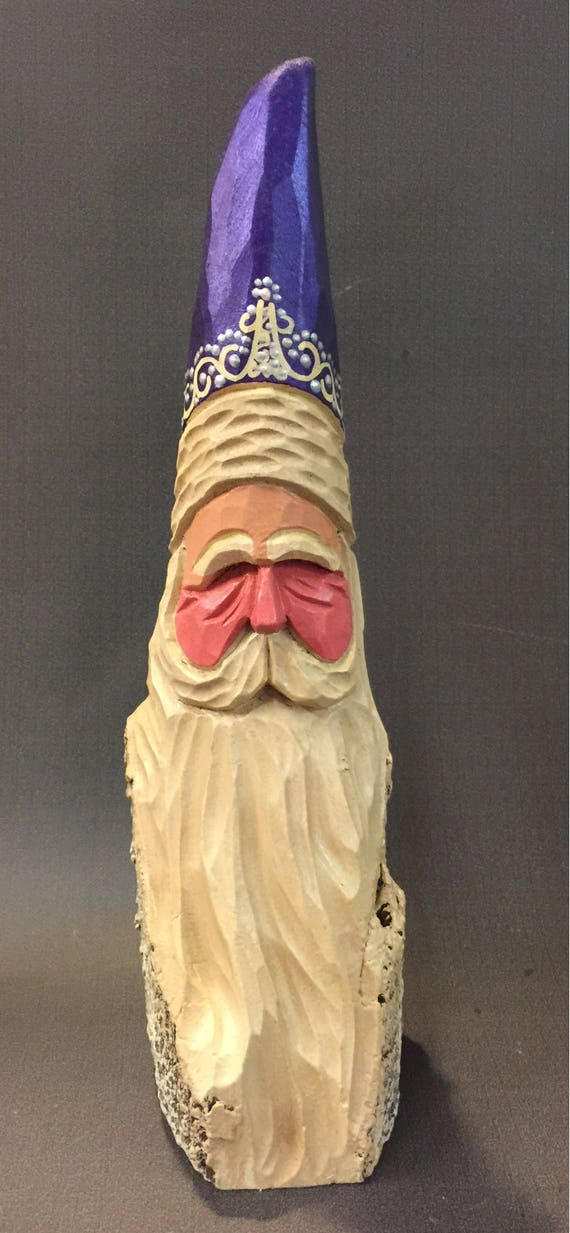 HAND CARVED original purple hat  Santa bust from 100 year old Cottonwood Bark.
