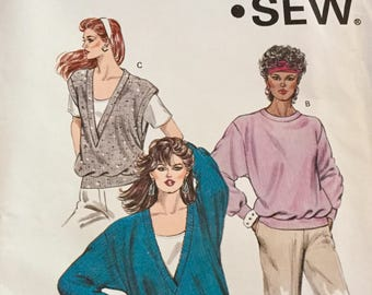 Vintage Kwik Sew  1455 Misses Sweater and Vest Pattern for Knits, Uncut, Size XS to L