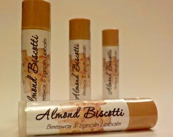 Almond Biscotti - handmade Beeswax and Lanolin Lip Balm by Soothing Suds Soap