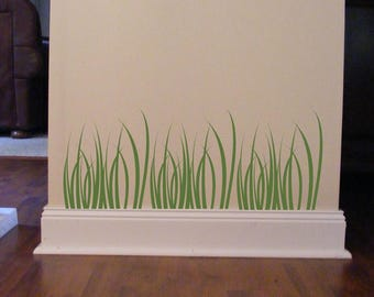 Grass Wall Decals, Blades of Grass wall sticker, 10 inch tall X 14 inch wide, Set of 3, Green grass stickers, Nursery wall decals, Doctor