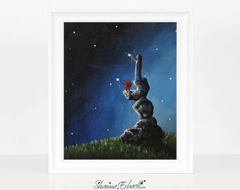 We Miss You - Surreal Art Print by Erback - Girl With Heart Pet - Dreamy Landscapes - Fantasy Art - Signed by Artist - Starry Night Sky