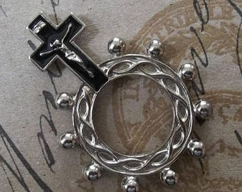 CLEARANCE SALE Black Enamel World War II Era Italian Prayer Rosary Ring, Steel Crucifix & Crown Of Thorns, The Passion Of Jesus Christ, Mili
