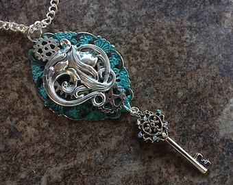 Steampunk Celtic Fantasy Gypsy Goddess and Gears Pendent Necklace