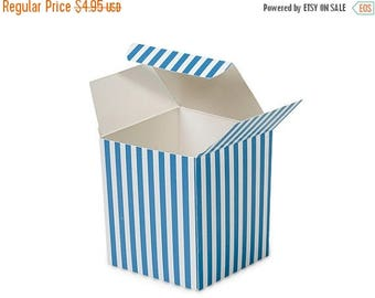 Summer Sale 6 Pack Blue and White Stripe Paper Tuck Top Style Packaging Retail Gift Boxes 3.25X3.25X3.25 Inch Size