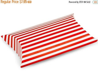 STOREWIDE SALE 12 Pack red and White Stripe Paper Pillow Boxes 3 X 3.5 X 1 Inch Size Great Packaging for Gifts, Party Favors, and More