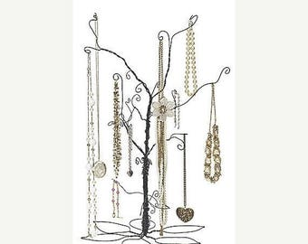 New Years Sale 24 Inch Tall Forged Wire Jewelry Display Whimsical Design Tree