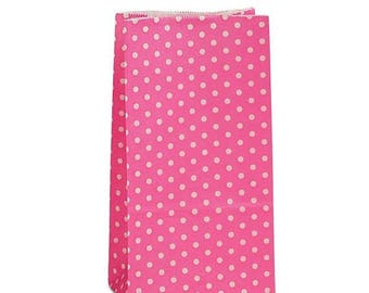 New Years Sale 25 pack Pink and white Polka Dot patterned SOS Style 3.65 X 2.25 X 7 Inch Bags