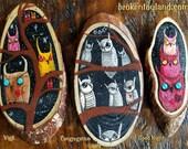 set of 3 mini Owl paintings - one of kind original, outsider art, art brut, outsider folk art, outsider artist, owls, black, pink, red