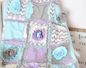 Oiseau maison bébé fille Rag Quilt bébé literie - literie bébé Turquoise / gris / violet - Floral literie pour berceau pour Nurserys lunatiques