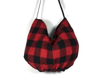 Red and Black Buffalo Check Hobo Bag Buffalo Plaid Shoulder Bag Red and Black Buffalo Plaid Hobo Bag Buffalo Plaid Handbags FREE SHIPPING