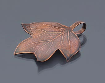 Small Tulip Tree Leaf, copper leaf ornament, botanical decor, leaf pendant, hostess gift