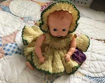 Vintage Plastic Baby Doll with Crocheted Dress - Doll Parts - Art Project - Altered Art