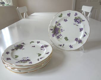 "Hammersley Spring Violets Tea Side Plates 7"" Vintage Set of Six Bone China Made in England -  EnglishPreserves"