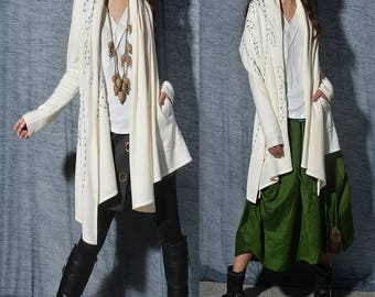 SALE - Spring Willow - boho knit wrap /  artistic asymmetrical cardigan / hand embroidered jacket / cream  knit(P5102z)