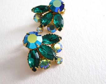 vintage BEAUJEWELS rhinestone clip on earrings blue green AB