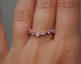 Peach sapphire wedding band Rose Gold Wedding Band Round Sapphire ring 14K Rose Gold Ring EidelPrecious. Anniversary ring. Anniversary gift