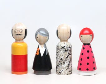 Wooden Peg Dolls // The Modern Artists II // Famous Painters Peg Dolls